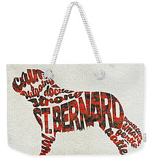 Weekender Tote Bag featuring the painting St. Bernard Dog Watercolor Painting / Typographic Art by Ayse and Deniz