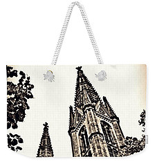St Boniface Church Towers Sepia Weekender Tote Bag by Sarah Loft