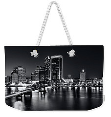 St Johns River Skyline By Night, Jacksonville, Florida In Black And White Weekender Tote Bag