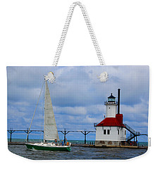 St. Joseph Lighthouse Sailboat Weekender Tote Bag