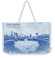 St. Louis Cardinals Busch Stadium Blueprint Words Weekender Tote Bag by David Haskett