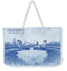 St. Louis Cardinals Busch Stadium Blueprint Words Weekender Tote Bag