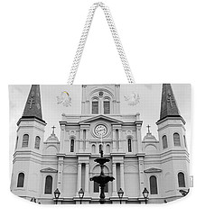 St Louis Cathedral And Fountain Jackson Square French Quarter New Orleans Black And White Weekender Tote Bag