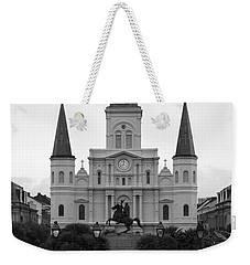 St Louis Cathedral On Jackson Square In The French Quarter New Orleans Black And White Weekender Tote Bag