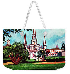 Weekender Tote Bag featuring the painting St. Louis Catheral New Orleans Art by Ecinja Art Works