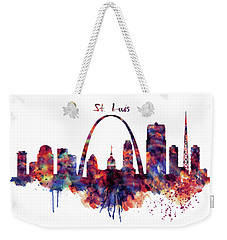 Weekender Tote Bag featuring the digital art St Louis Skyline by Marian Voicu