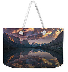 St Mary Lake At Dusk Panorama Weekender Tote Bag