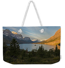 Weekender Tote Bag featuring the photograph St. Mary Lake by Gary Lengyel
