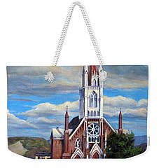 Weekender Tote Bag featuring the painting St. Mary Of The Mountains by Donna Tucker