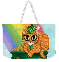 Weekender Tote Bag featuring the painting St. Paddy's Day Cat - Orange Tabby by Carrie Hawks