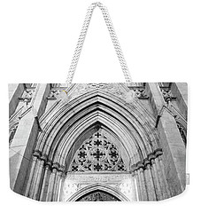 St Patrick's Cathedral Door Black And White  Weekender Tote Bag