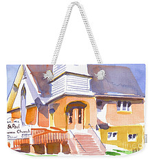 Weekender Tote Bag featuring the painting St. Paul Lutheran Ironton Missouri by Kip DeVore