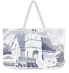 Weekender Tote Bag featuring the painting St. Paul Lutheran Church 2 by Kip DeVore