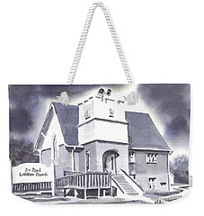 Weekender Tote Bag featuring the painting St Paul Lutheran With Ink by Kip DeVore