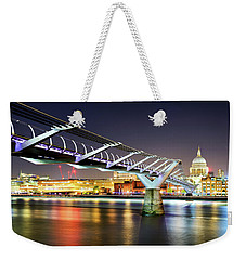 St Paul's Cathedral During Night From The Millennium Bridge Over River Thames, London, United Kingdom. Weekender Tote Bag