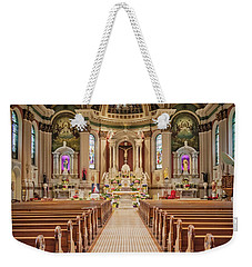 Weekender Tote Bag featuring the photograph St Peter The Apostle Church Pa by Susan Candelario