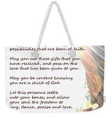 St Therese Of Lisieux Prayer And True Light Lower Emerald Pools Zion Weekender Tote Bag by Heather Kirk