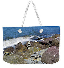Weekender Tote Bag featuring the photograph Stacked Against The Waves by Tikvah's Hope