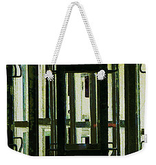 Weekender Tote Bag featuring the photograph Stacked Metal Pallets 2 by Kae Cheatham