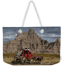 Stage Coach In The Badlands Weekender Tote Bag by Randall Nyhof