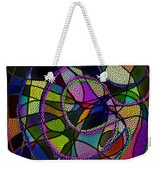 Weekender Tote Bag featuring the digital art Stained Glass Father Mother Child by Iowan Stone-Flowers