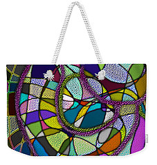 Weekender Tote Bag featuring the digital art Stained Glass Mother And Child by Iowan Stone-Flowers