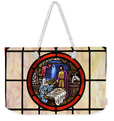 Stained Glass Nativity Window Weekender Tote Bag