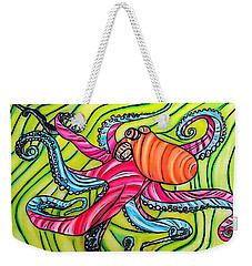 Stained Glass Octopus Weekender Tote Bag by Justin Moore