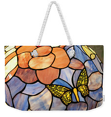 Weekender Tote Bag featuring the photograph Stained Glass With Butterfly by Chris Flees