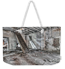 Weekender Tote Bag featuring the photograph Stair In Old Abandoned  Building by Michal Boubin