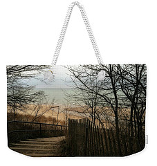 Stairs To The Beach In Winter Weekender Tote Bag