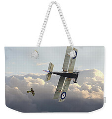 Weekender Tote Bag featuring the digital art Stalked - Se5 And Albatros Dlll by Pat Speirs