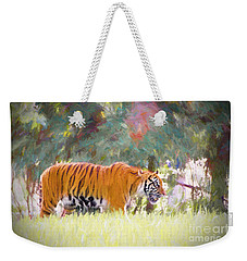 Weekender Tote Bag featuring the painting Stalking Tiger by Judy Kay