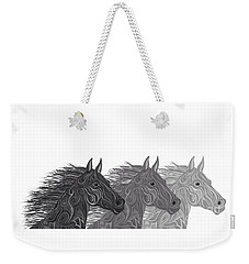 Weekender Tote Bag featuring the drawing Stallions Shades by Nick Gustafson