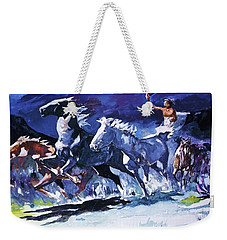 Stampede By Moonlight Weekender Tote Bag