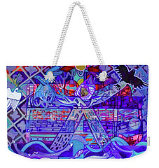 Weekender Tote Bag featuring the painting Standing At The Edge Of The Abyss by Denise Weaver Ross
