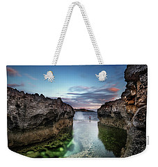 Weekender Tote Bag featuring the photograph Standing At The Tip Of Sea by Pradeep Raja Prints