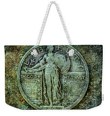 Weekender Tote Bag featuring the digital art Standing Libery Quarter Obverse by Randy Steele
