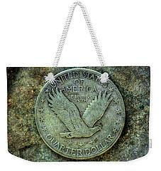 Weekender Tote Bag featuring the digital art Standing Libery Quarter Reverse by Randy Steele