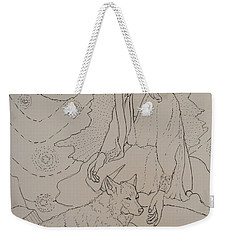 Weekender Tote Bag featuring the drawing Star Maiden by Donelli  DiMaria