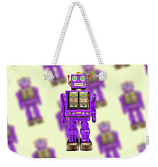 Weekender Tote Bag featuring the photograph Star Strider Robot Purple Pattern by YoPedro