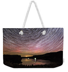 Weekender Tote Bag featuring the photograph Star Trails And Aurora At Billy Chinook by Cat Connor
