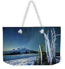 Star Trails Over Mt. Hood Weekender Tote Bag by William Lee