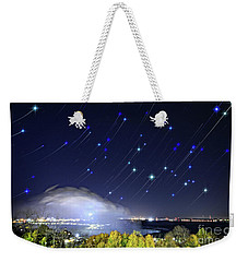Star Trails Over Niagara River Weekender Tote Bag by Charline Xia