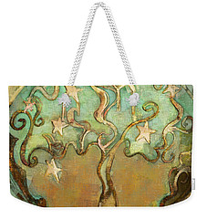 Weekender Tote Bag featuring the tapestry - textile Star Tree by Carrie Joy Byrnes