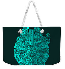 Star Wars Art - Millennium Falcon - Blue 02 Weekender Tote Bag