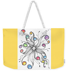 Weekender Tote Bag featuring the drawing Starburst by Jan Steinle