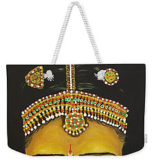 Weekender Tote Bag featuring the painting Stare by Brindha Naveen