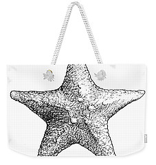 Weekender Tote Bag featuring the drawing Starfish Drawing Black And White Sea Star by Karen Whitworth