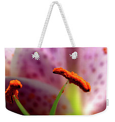 Weekender Tote Bag featuring the photograph Stargazer Lilie Macro by Baggieoldboy